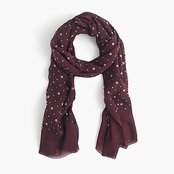 Lightweight wool-silk star and clover scarf