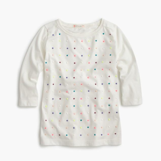 Girls' three-quarter-sleeve embellished grid T-shirt