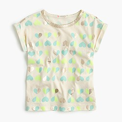 Girls' neon metallic heart T-shirt