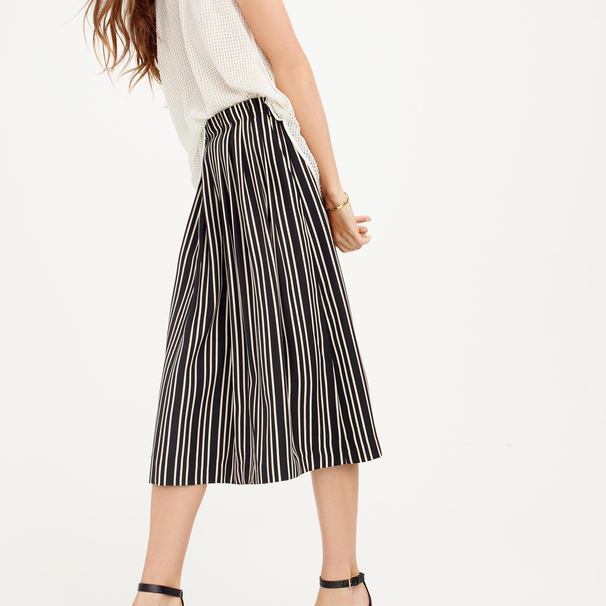 Pleated midi skirt in triple stripe : Women A-line/Midi | J.Crew