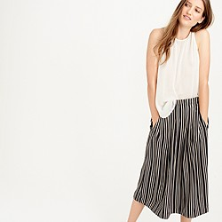 Petite pleated midi skirt in triple stripe