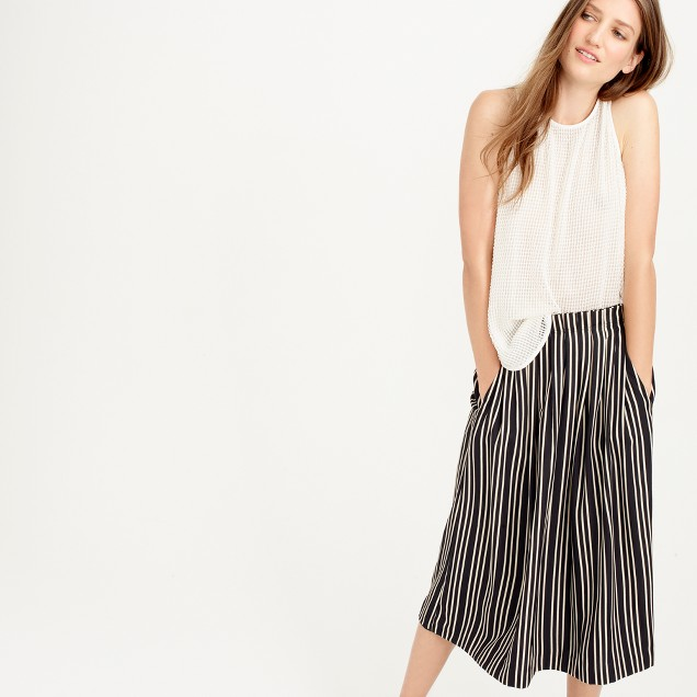 Pleated midi skirt in triple stripe