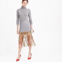 Wool skirt with metallic fringe