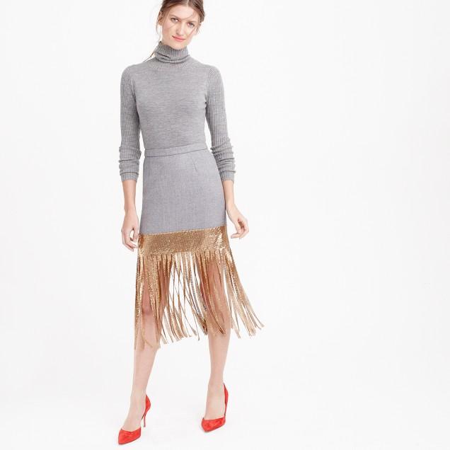 Wool skirt with metallic fringe
