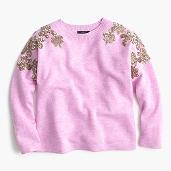 Floral sequin-sleeve sweater