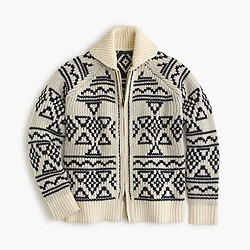 Abstract Fair Isle zip cardigan sweater