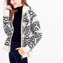 Abstract Fair Isle zip cardigan sweater