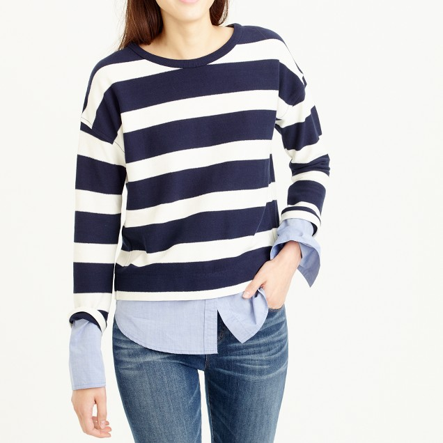 Striped long-sleeve T-shirt with shirttail hem