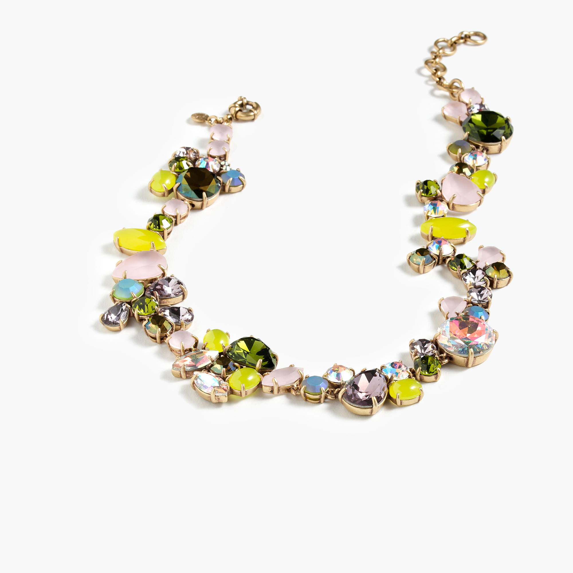 Colorful crystal foliage necklace j crew for J crew jewelry 2015