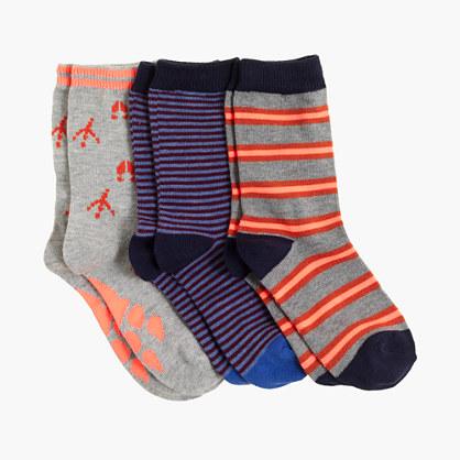 Boys' critter striped socks three-pack