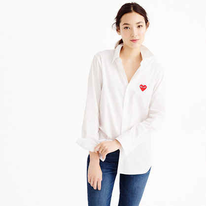 play comme des garcons red heart button down shirt women. Black Bedroom Furniture Sets. Home Design Ideas