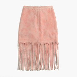 Collection fringed suede skirt