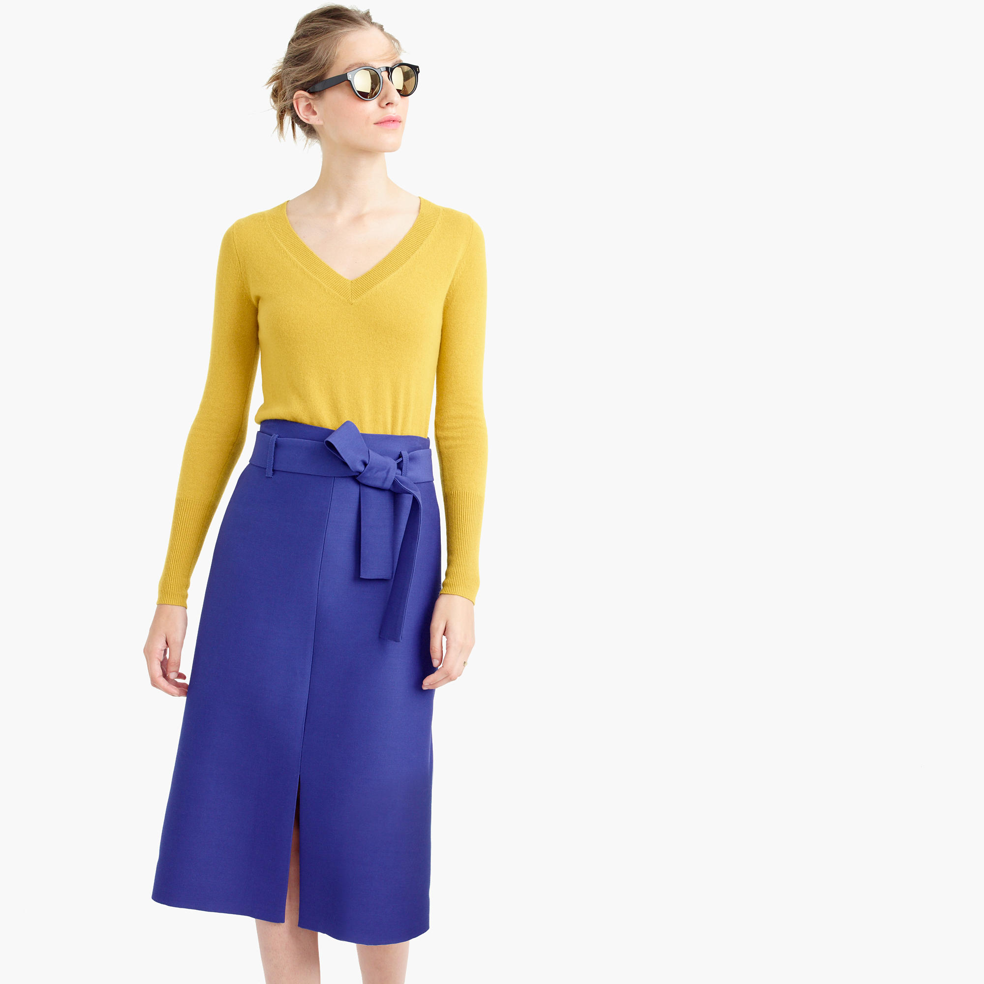 Collection A-line midi skirt in Italian wool blend : | J.Crew