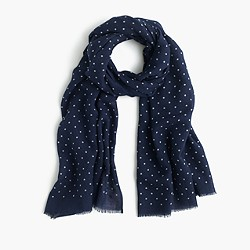 Lightweight wool-silk dotted scarf