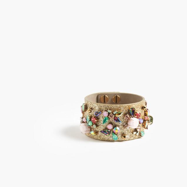 Crystal glitter cuff bracelet
