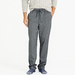 Flannel pajama pant in grey herringbone