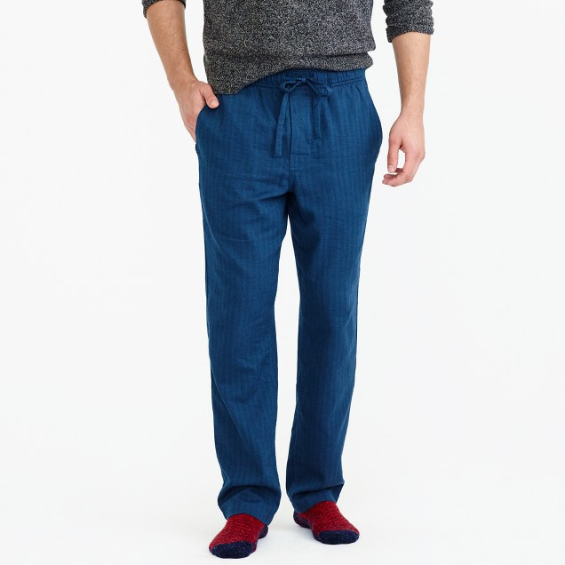 Flannel pajama pant in herringbone