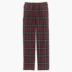 Flannel pajama pant in burgundy plaid