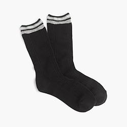 Striped-cuff Aran trouser socks