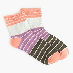 Rolled-cuff striped socks with fringe