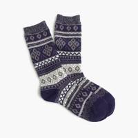 Marled-cuff Fair Isle socks
