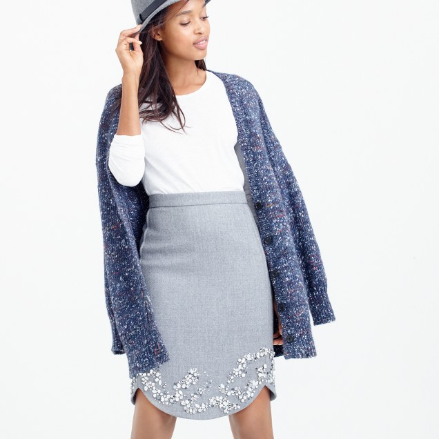 Collection jeweled mini skirt in double-serge wool