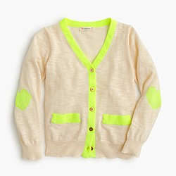 Girls' neon-trim cardigan sweater