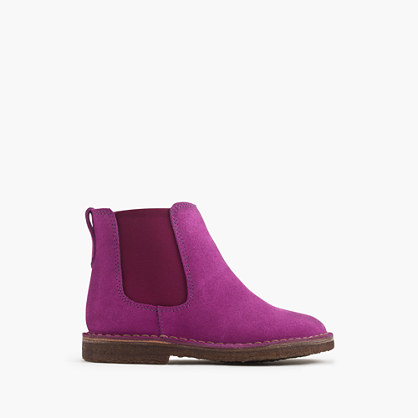 Girls' suede Chelsea boots with sherpa lining