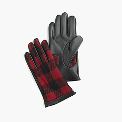Leather gloves in buffalo plaid
