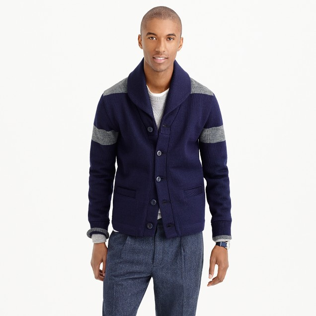 Dehen® for J.Crew shawl-collar cardigan sweater in navy wool