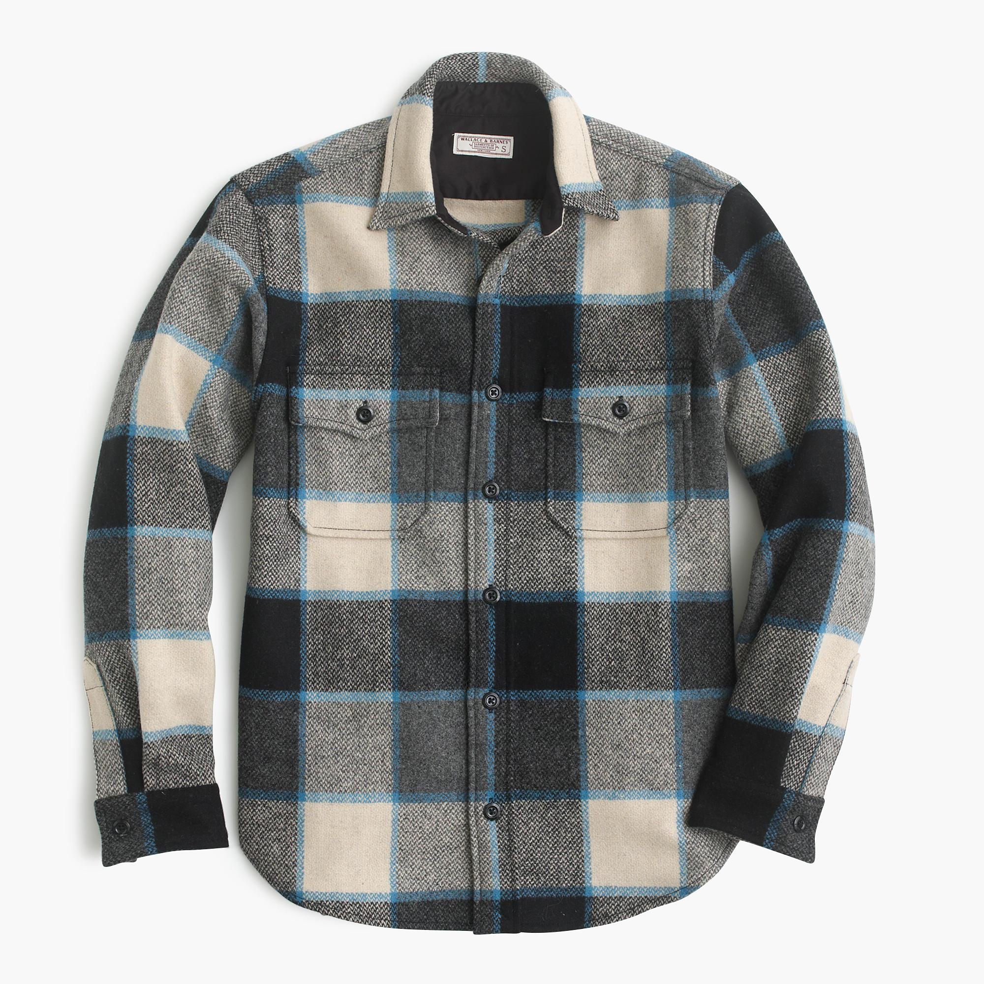 Wallace barnes shirt jacket in wool brookline plaid for Plaid shirt jacket mens