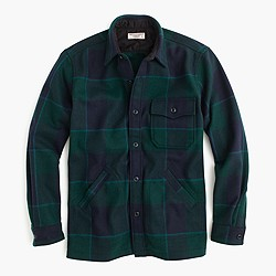 Wallace & Barnes shirt-jacket in wool nightwatchmen plaid