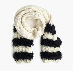 Collection fur striped cable-knit scarf