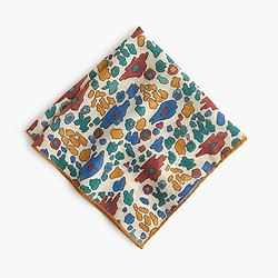 Drake's® Italian wool-silk pocket square in block print