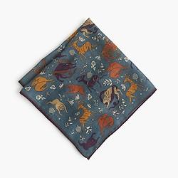Drake's® wool-silk pocket square in predator and prey print