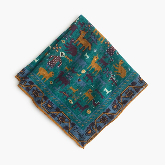 Drake's® Italian wool-silk pocket square in Southwestern print