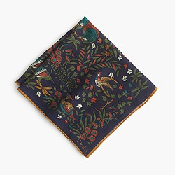 Drake's® Italian wool-silk pocket square in birds of paradise print