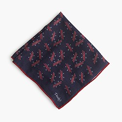 Drake's® Italian wool-silk pocket square in ski print