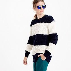 Italian cashmere cable sweater in stripe