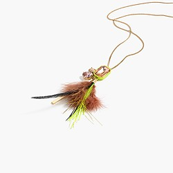 Feathered crystal pendant necklace