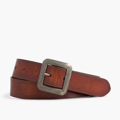 Center bar Italian leather belt