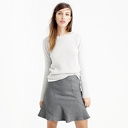 Flutter mini skirt in double-serge wool