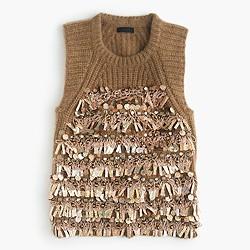 Italian embellished cashmere sleeveless sweater
