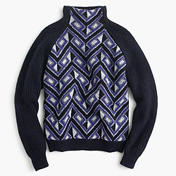 Collection cashmere turtleneck sweater in mosaic