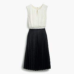 Two-tone pleated combo dress