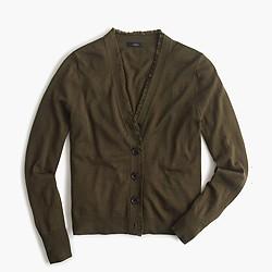 V-neck cardigan sweater in fringe trim