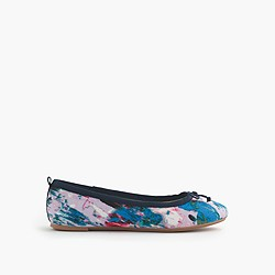 Girls' watercolor floral ballet flats