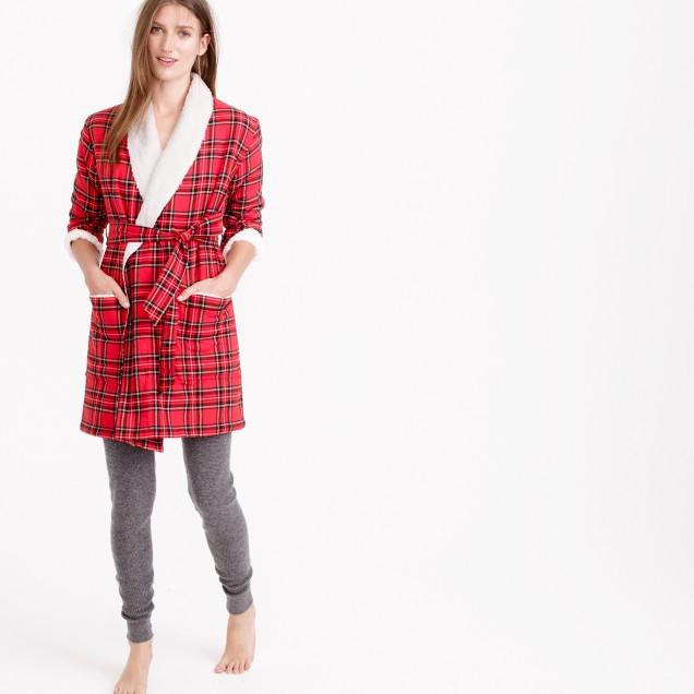 Sherpa-lined robe in classic tartan flannel