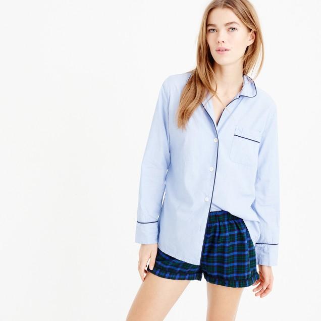 Midnight plaid flannel pajama short