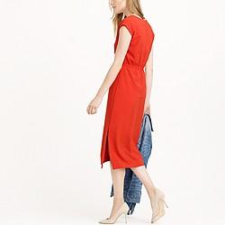 Petite perforated drapey side-slit dress